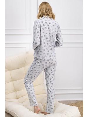 Miinnie Mouse Lisanslı Gri Düğmeli Kadın Gömlek Pijama Takımı