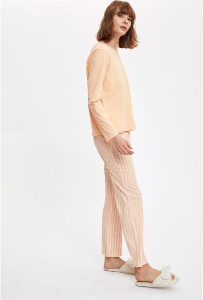 Defacto Kadın Baskılı Uzun Kollu Pijama Takımı