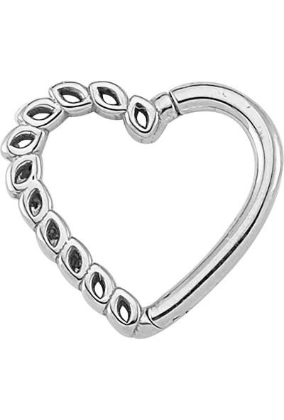 Dianora Piercing Kalp Beyaz Altın Circle Helix Piercing