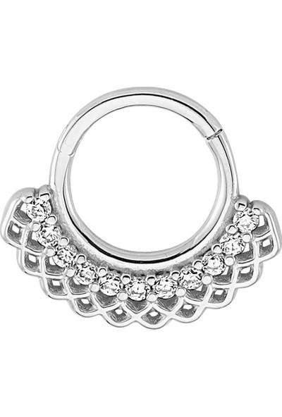 Dianora Piercing Taşlı Beyaz Altın Circle Helix Piercing