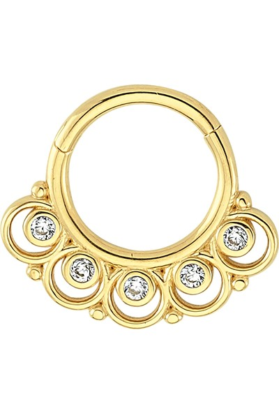 Dianora Piercing Taşlı Altın Circle Helix Piercing