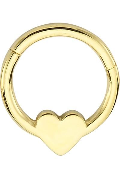 Dianora Piercing Kalp Altın Circle Helix Piercing