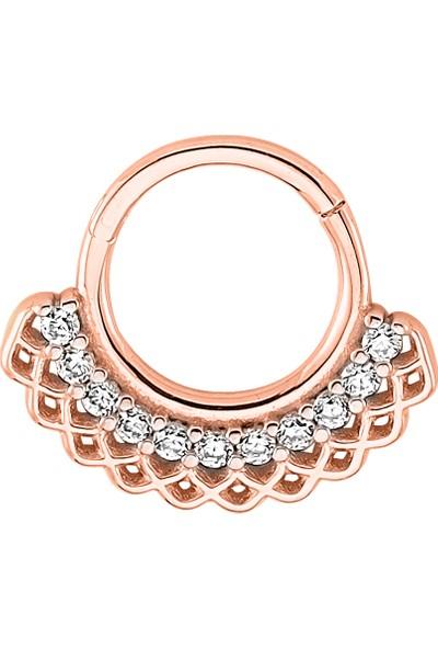 Dianora Piercing Taşlı Rose Altın Circle Helix Piercing