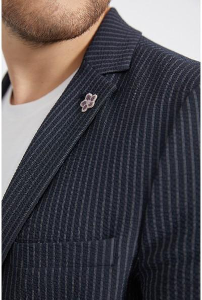 Avva Erkek Lacivert Mono Yaka Seersucker Çizgili Slim Fit Cebi Kapaklı Ceket A02Y4052