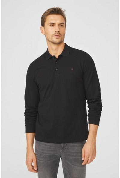 Avva Erkek Siyah Polo Yaka Düz Sweatshirt E001003