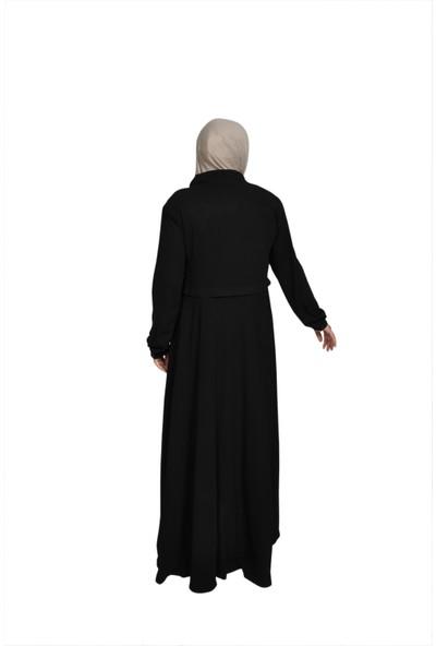 DOĞRU True Fercace Fermuarlı Robalı Tessettür Elbise Siyah