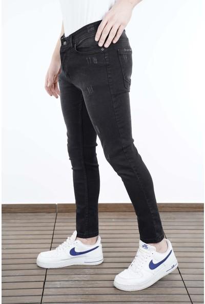 Lose Jeans Siyah Rodeo Tırnaklı Slimfit Likralı Kot Pantolon