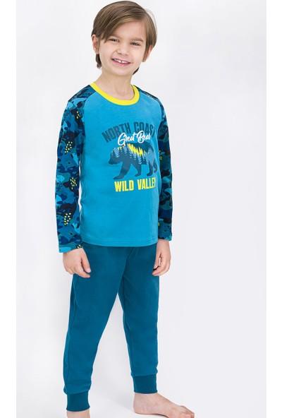 Rolypoly Wild Bear Kamuflaj Açık Petrol Erkek Çocuk Pijama Takımı