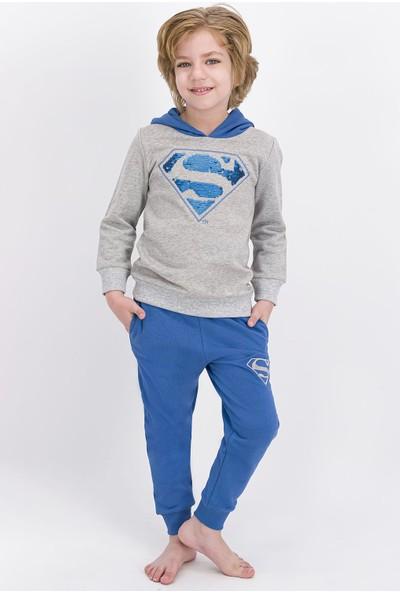 Superman Lisanslı Grimelanj Erkek Çocuk Payetli Kapüşonlu Eşofman Takımı