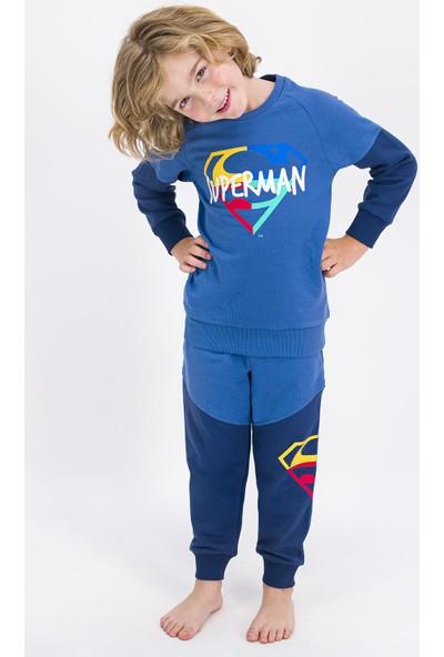 Superman Lisanslı Indigo Erkek Çocuk Eşofman Takımı
