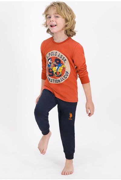 U.S. Polo Assn. Lisanslı Kiremit Erkek Çocuk Pijama Takımı
