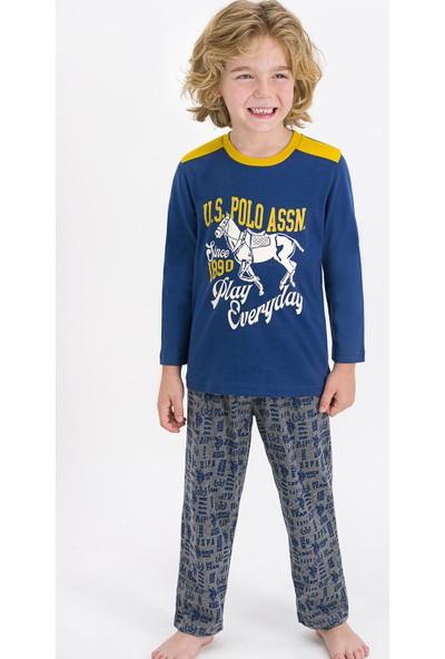 U.S. Polo Assn. Lisanslı Koyu Indigo Erkek Çocuk Pijama Takımı