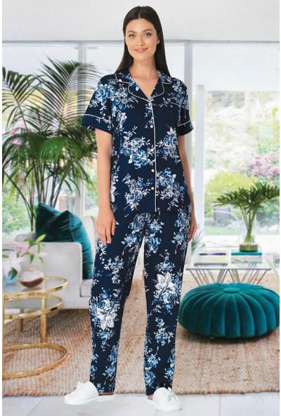 By Mecit 5335 Lacivert Büyük Beden Kadın Pijama Takımı