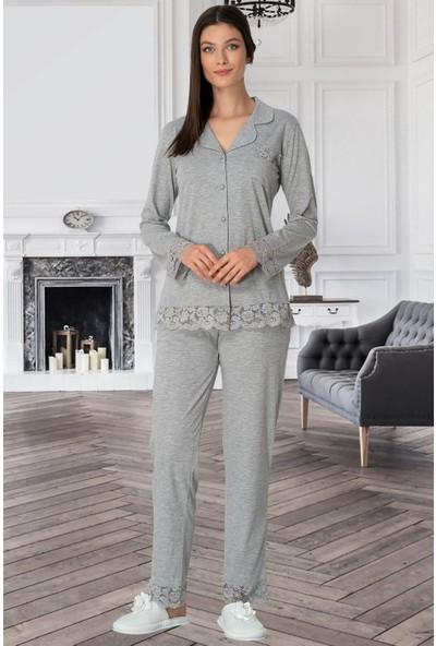 Mecit 5352 Önden Düğmeli Gri Kadın Pijama Takımı