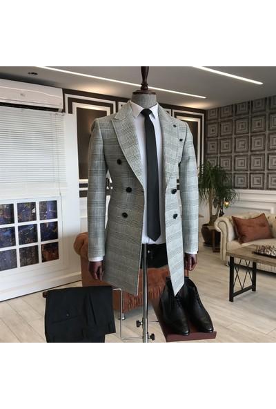 Terzi Adem Italyan Stil Slim Fit Erkek Kruvaze Yün Kaşe Kaban Çok Renkli T5101