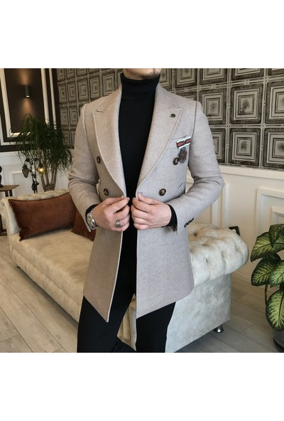 Terzi Adem Italyan Stil Slim Fit Erkek Kruvaze Yün Kaşe Kaban Vizon T5066