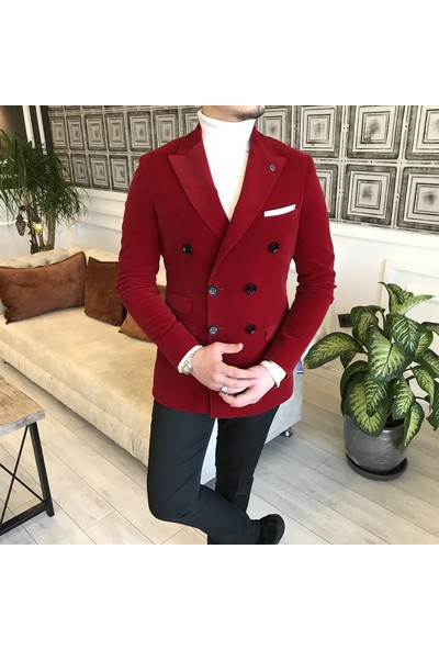Terzi Adem Italyan Stil Slim Fit Fitilsiz Kadife Kruvaze Tek Ceket Kırmızı T5096