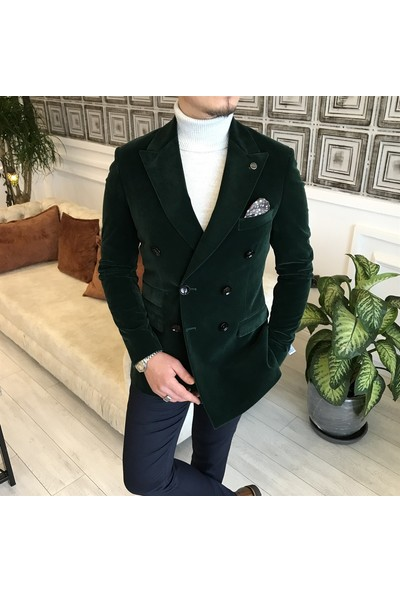 Terzi Adem Italyan Stil Slim Fit Fitilsiz Kadife Kruvaze Tek Ceket Yeşil T5097