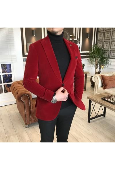 Terzi Adem Italyan Stil Slim Fit Kadife Kırmızı Blazer Tek Ceket T5088