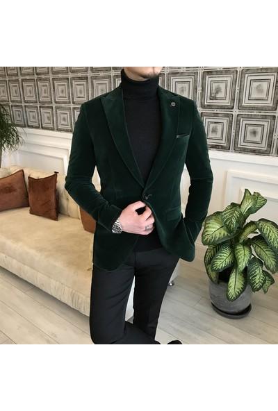 Terzi Adem Italyan Stil Slim Fit Kadife Yeşil Blazer Tek Ceket T5089