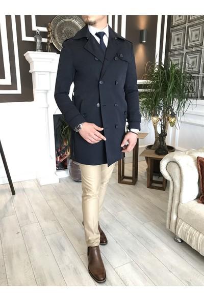Terzi Adem Italyan Stil Slim Fit Mevsimlik Erkek Trençkot Mont Lacivert T4979