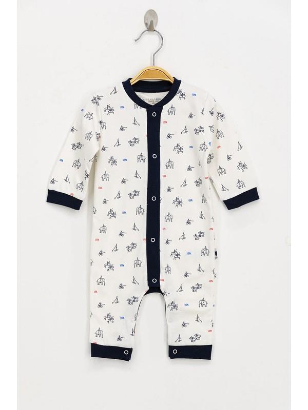 U.S. Polo Assn. Lisanslı Krem Bebek Tulum