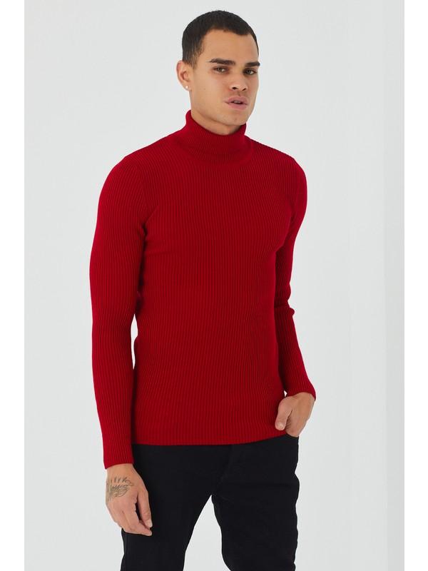 Tarz Cool Erkek Kırmızı Fitilli Triko Kazak