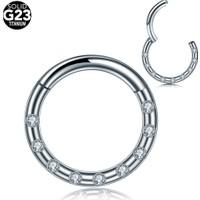 VipBT Menteşeli Kristal G23 Titanyum Kıkırdak Burun Halkası Hızma Septum Helix Piercing 1.2 x 8 mm