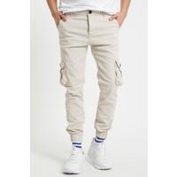 Serseri Jeans Bej Renk Likralı Slim Fit Körüklü Cep Kargo Pantolon