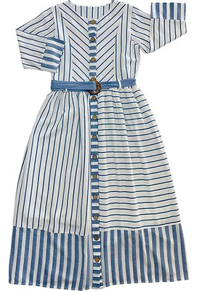 Pafim Çizgili Elbise Mavi 14 Yaş