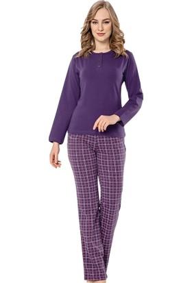 Akare 416 Pamuklu Likralı Uzun Kollu Kadın Pijama Takımı Ev Pijam