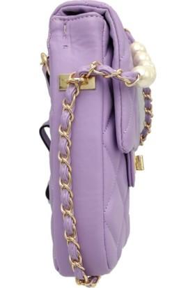 Modames Kadın Mor İncili Kapitone Mini Çanta