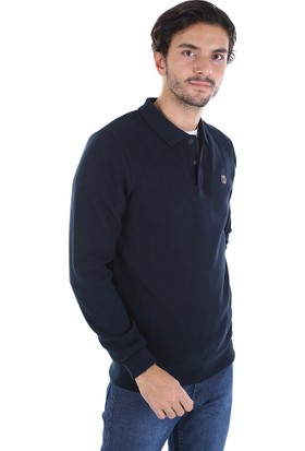 Diandor Polo Yaka Erkek Triko Sweat Lacivert/navy 2025100