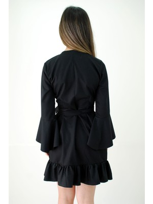 Elifim Moda Tasarım Anvelop Kesim Düz Siyah Fırfırlı Elbise