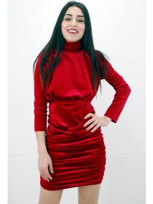 Elifim Moda Tasarım Balıkçı Yaka Sırt Dekolteli Drapeli Kadife Kırmızı Mini Elbise