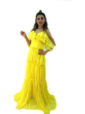 Elifim Moda Tasarım Carmen Yaka Ip Askılı Sarı Şifon Maxi Elbise