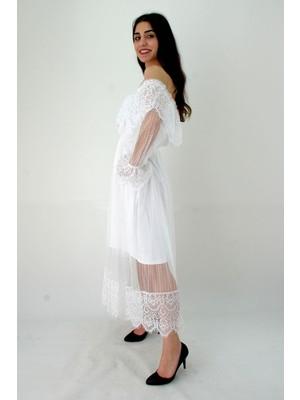 Elifim Moda Tasarım Düşük Omuz Dantel Detaylı Volanlı Beyaz Maxi Elbise