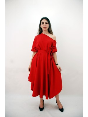 Elifim Moda Tasarım Düşük Omuz Kırmızı Kloş Elbise