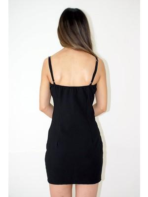 Elifim Moda Tasarım Fermuar Detaylı Siyah Mini Elbise