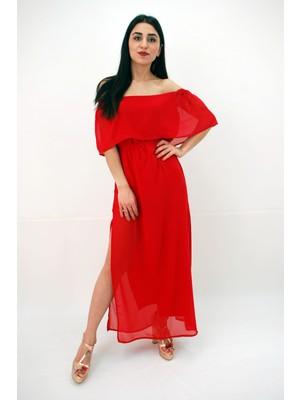 Elifim Moda Tasarım Madonna Yaka Şifon Düşük Omuz Kırmızı Maxi Elbise