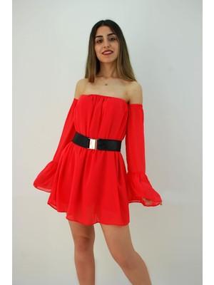 Elifim Moda Tasarım Madonna Yaka Şifon Düşük Omuz Kırmızı Mini Elbise