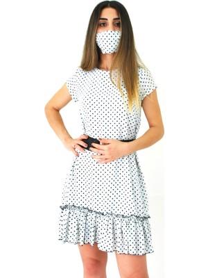 Elifim Moda Tasarım Puantiyeli Fırfır Detaylı Mini Elbise