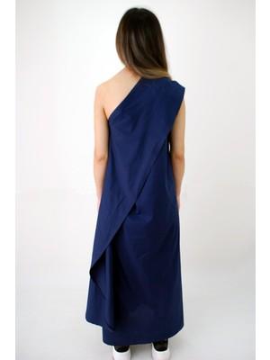 Elifim Moda Tasarım Tek Omuz Lacivert Maxi Elbise