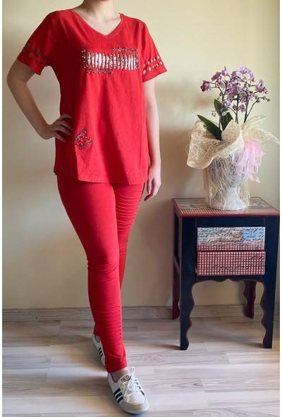 Mia Butik Kadın Önü Taşlı İkili Pamuklu Eşofman Takımı 42 Kırmızı