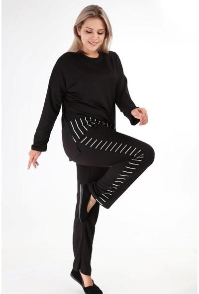 Mia Butik Çizgi Şeritli Büyük Beden Eşofman Takımı XL Siyah