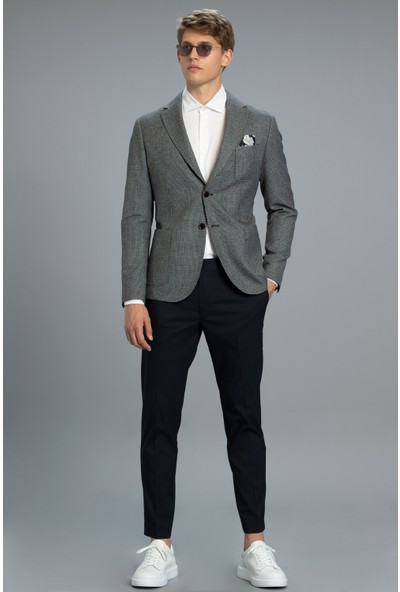 Lufian Plica Spor Blazer Ceket Slim Fit Siyah