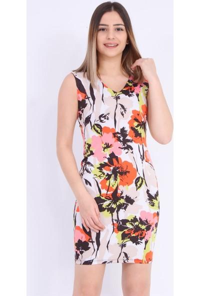Gossip Yeşil Pembe Çiçek Desenli Elbise