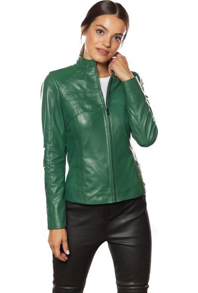 Cinzia Yeşil Deri Ceket