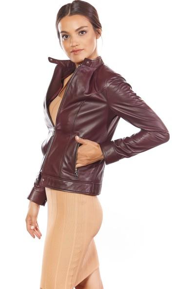 Bella Deri Kadın Ceket Bordo