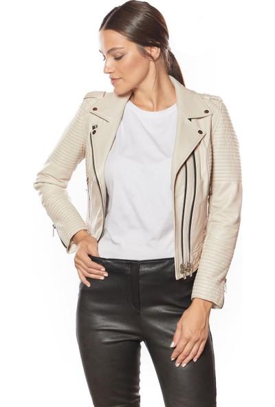 Motorcu Tarzı Kadın Deri Ceket Bej